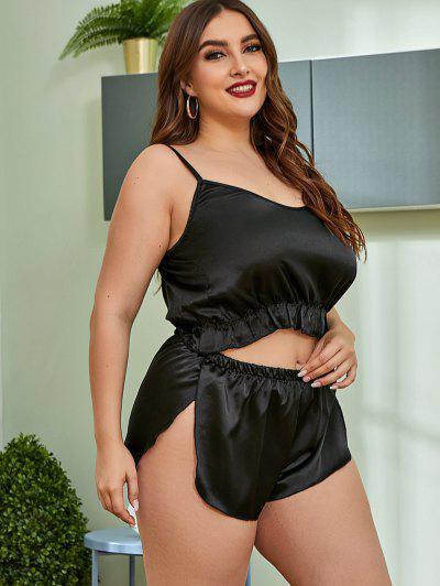 Plus Size Slit Ruffled Hem Satin Pajama Set - Black 2xl