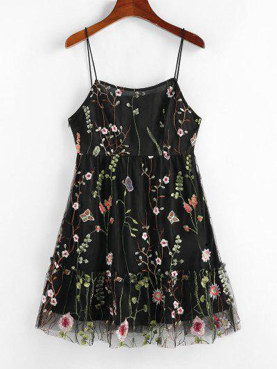 ZAFUL Mesh Flounce Floral Embroidered Cami Dress - Black M