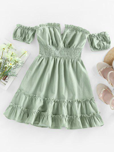 ZAFUL Off Shoulder V Wired Ruffled Smocked Dress - Light Green S