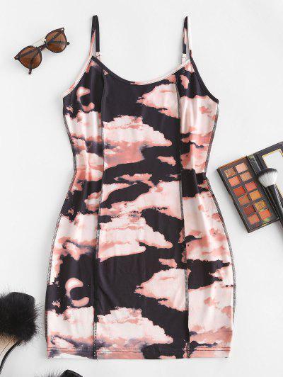 Tie Dye Topstitching Mini Bodycon Dress - Deep Coffee S