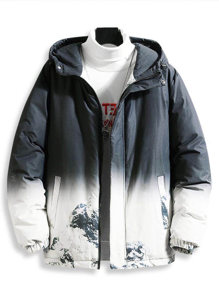 Veste Matelassée à Capuche avec Impression Montagne Enneigée - ZAFUL - Modalova