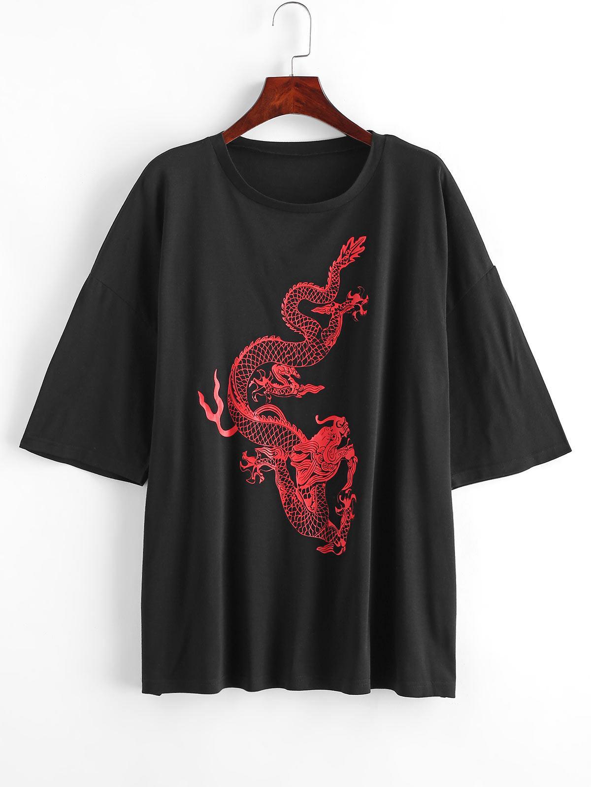 ZAFUL T-shirt Long Dragon Chinois Imprimé de Grande Taille L Noir