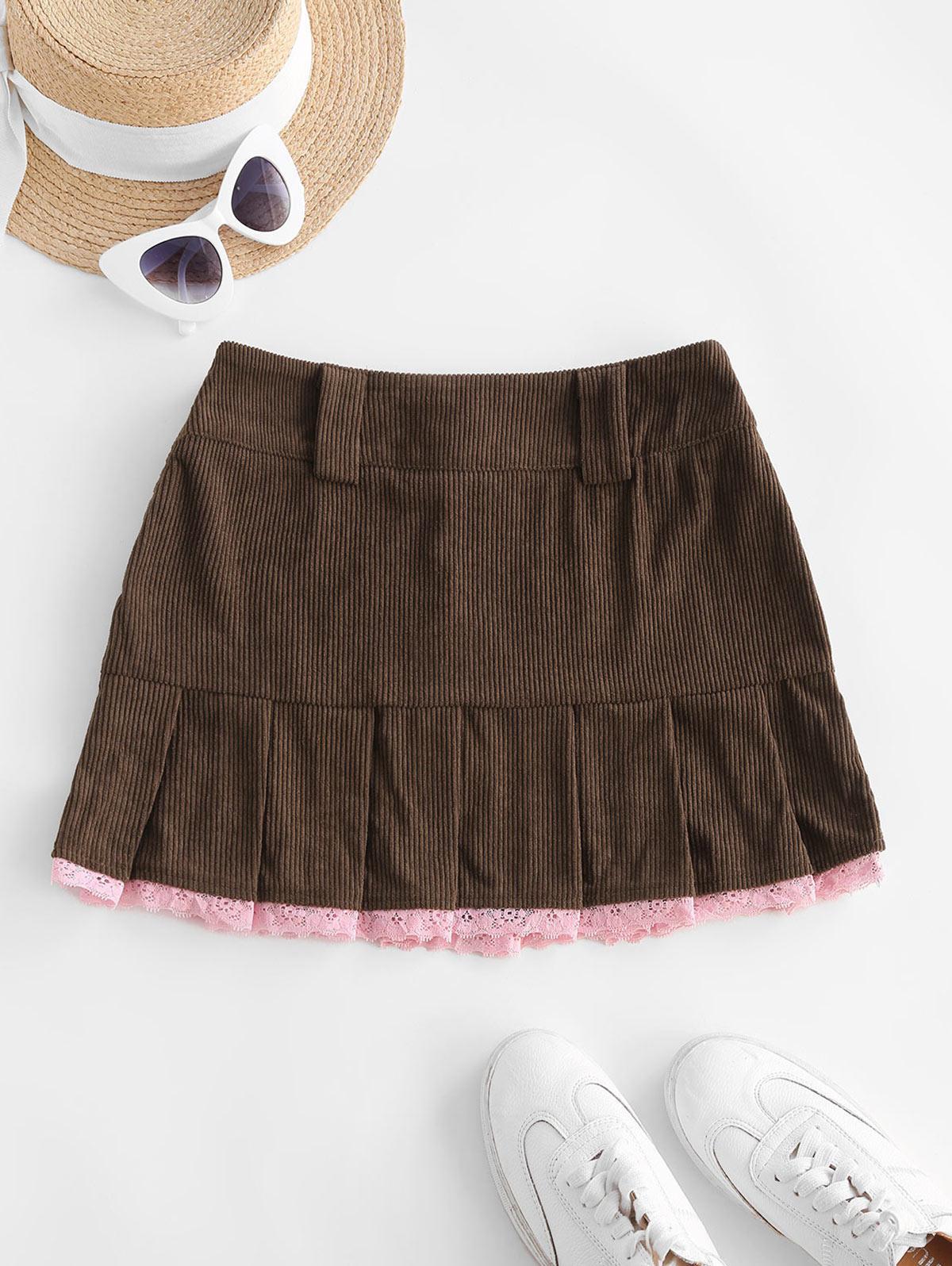 Pleated Hem Lace Trim Corduroy Mini Skirt