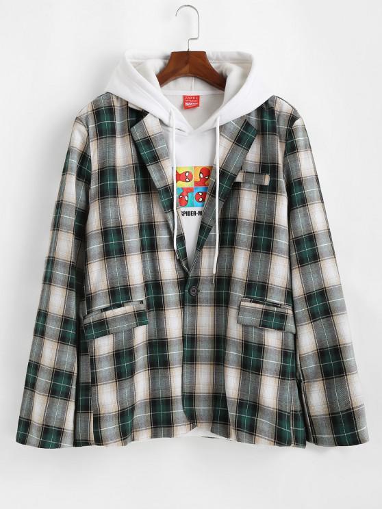 trendy Plaid Pattern Slit Single Button Blazer - DARK FOREST GREEN L