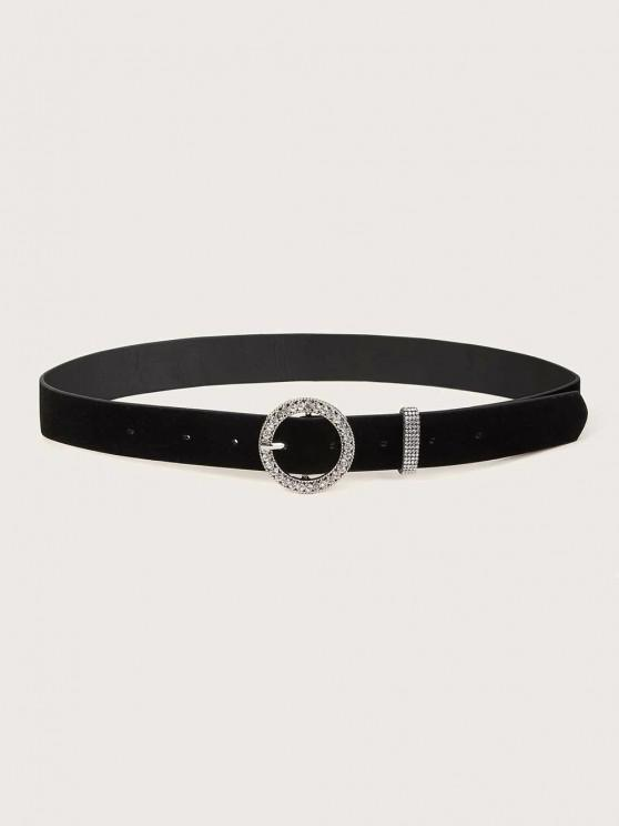 fashion Rhinestone Circle Pin Buckle Belt - BLACK