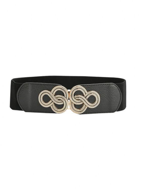 Cintura Elastica Larga con Fibbia Ad Ardiglione - Nero