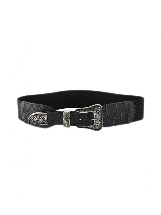 Retro Carving Buckle Elastic Belt - أسود