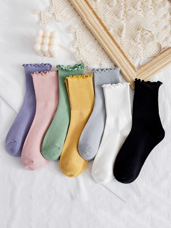 online 7 Pairs Lettuce Edge Solid Mid-calf Socks - MULTI