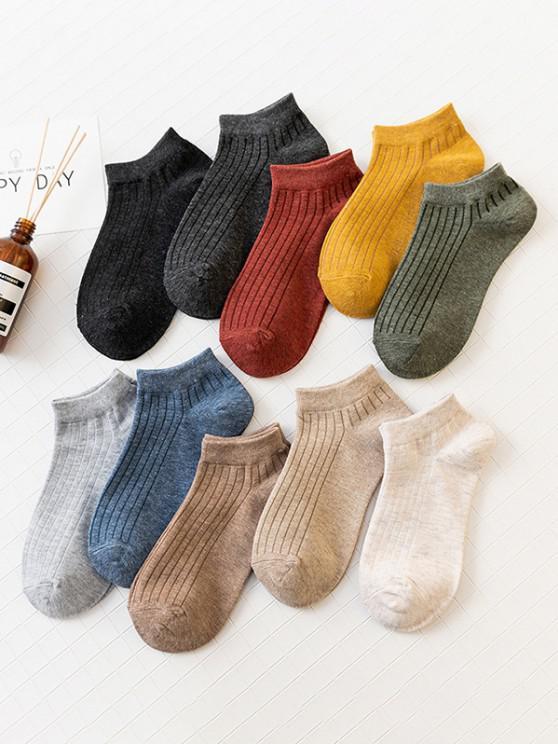 new 10 Pairs Solid Ankle Socks Set - MULTI