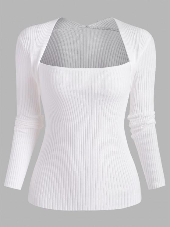 Ribbed Shrug Slim Sweater - أبيض حجم واحد