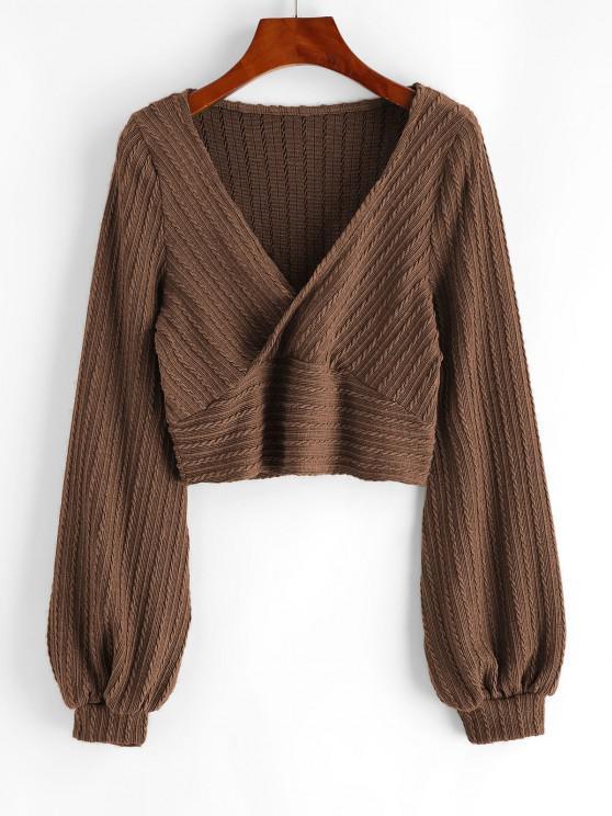 fancy Cable Knit Surplice Cropped Knitwear - COFFEE M