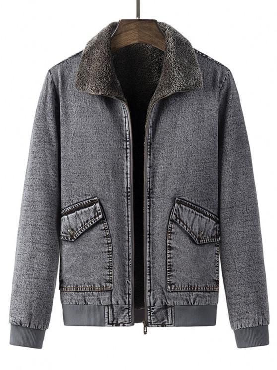 fashion Faux Fur Lined Jean Jacket - GRAY S