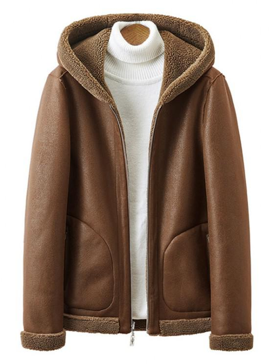 sale Reversible Zip Up Teddy Suede Hooded Jacket - COFFEE S