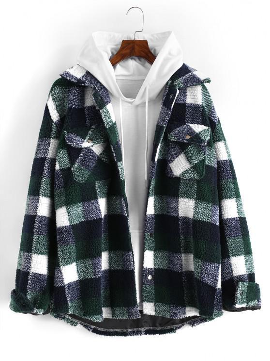 Plaid Pattern Double Pockets Faux Shearling Jacket - ديب غرين 2XL