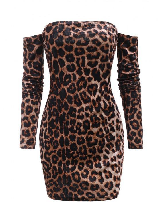 Leopard Velvet Off Shoulder Club Dress - القهوة العميقة M