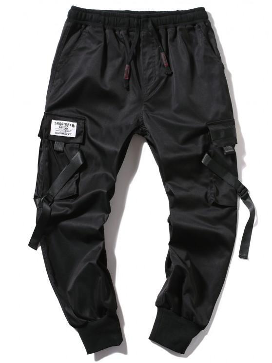 Pantalones Jogger de Correa Hebilla de Letras - Negro S
