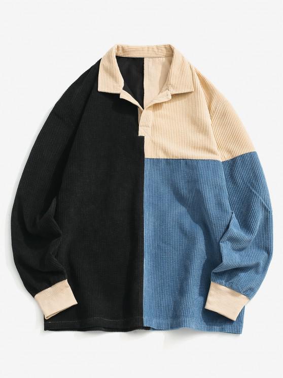 women Colorblock Half Button Corduroy Shirt - MULTI S