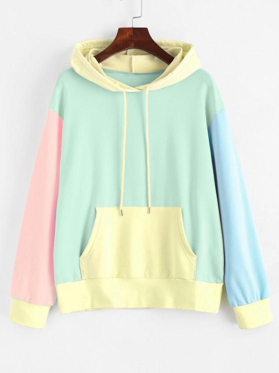 new Drawstring Kangaroo Pocket Colorblock Hoodie - LIGHT GREEN M