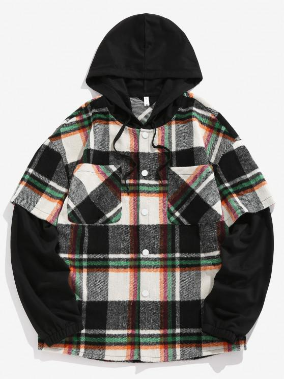 shop ZAFUL Hooded Plaid Print Double Pockets Faux Twinset Shirt - GREEN M