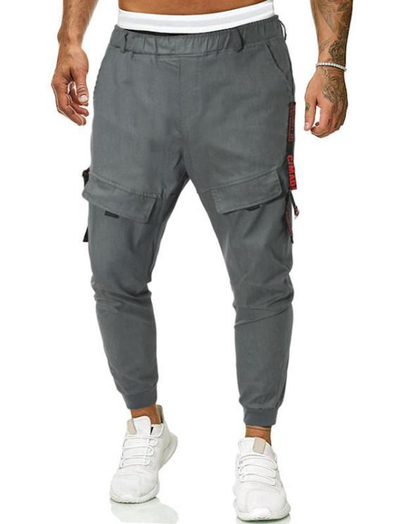 sale Letter Tape Casual Pants - GRAY XS