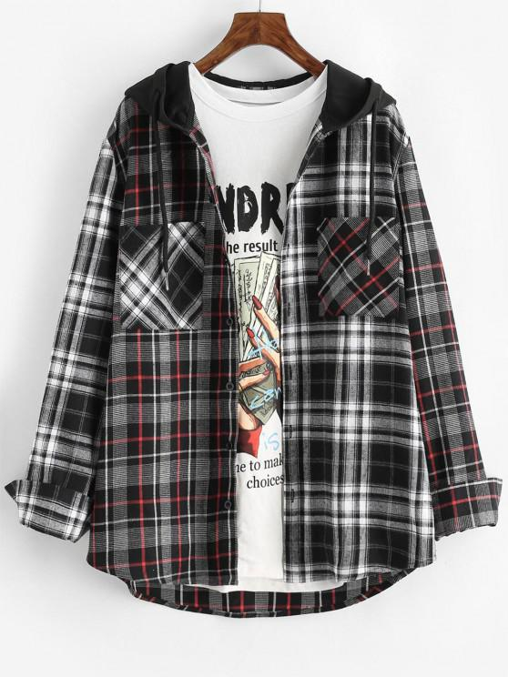 fancy Plaid Pattern Pocket Hooded Shirt - GRAY M