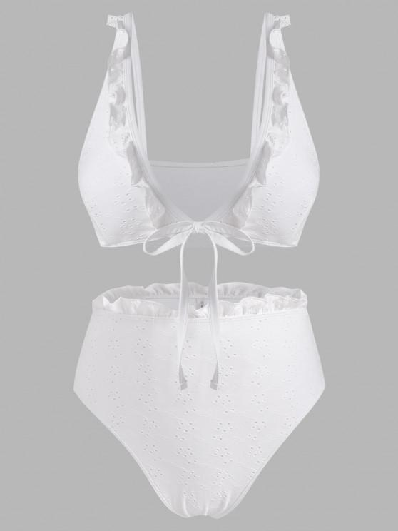 fancy Plus Size Ruffled Broderie Anglaise Low Cut Bikini Swimwear - WHITE XL