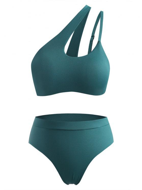 ZAFUL Maillot de Bain Bikini Découpé à Une Epaule de Grande Taille - Vert profond XL