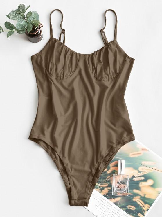 outfit ZAFUL Solid Color High Cut Cami Bodysuit - COFFEE S