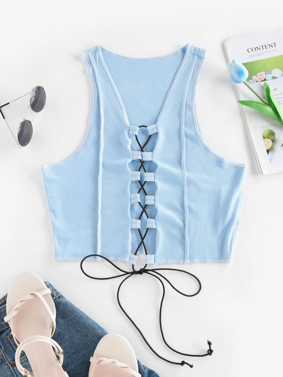 women ZAFUL Ribbed Topstitching Lace Up Crop Tank Top - BLUE S