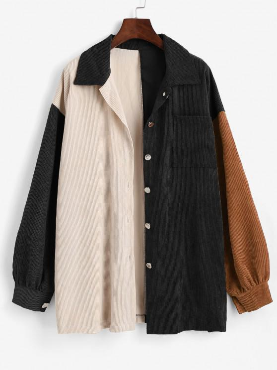 unique Boyish Colorblock Front Pocket Oversized Corduroy Shacket - BLACK L