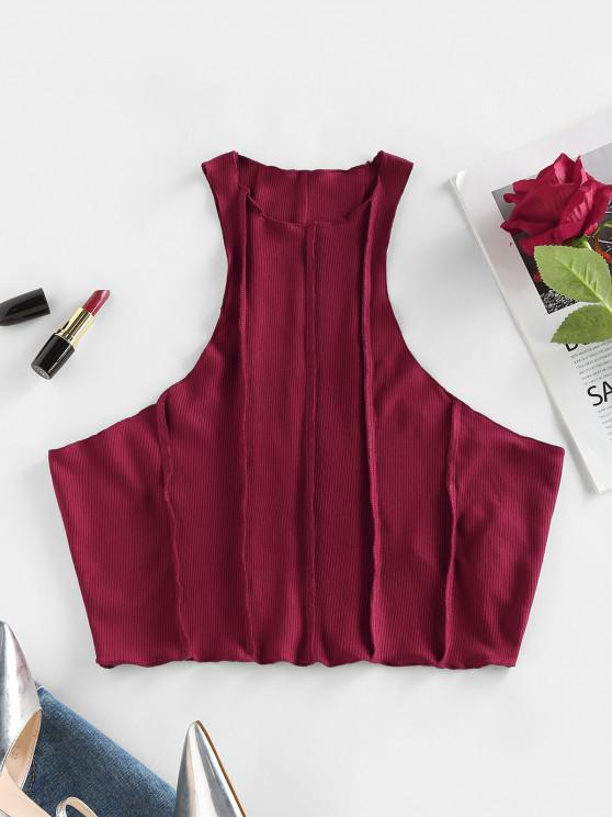 affordable ZAFUL Ribbed Topstitching Cutaway Tank Top - DEEP RED S