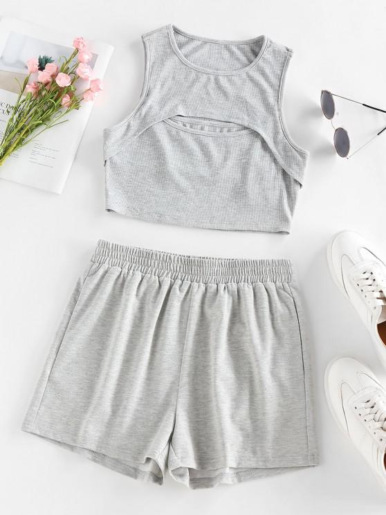 affordable ZAFUL Ribbed Cutout Crop Top and Shorts Co Ord Set - LIGHT GRAY M