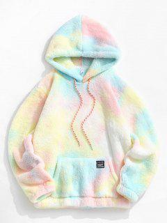 Applique Detail Tie Dye Pattern Fluffy Hoodie - Light Pink L