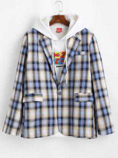 Plaid Pattern Slit Single Button Blazer - Blueberry Blue L