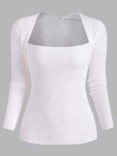 Ribbed Shrug Slim Sweater - White