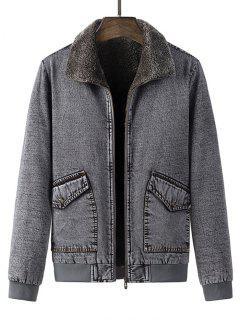 Faux Fur Lined Jean Jacket - Gray S