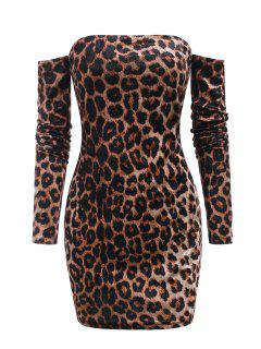 Leopard Velvet Off Shoulder Club Dress - Deep Coffee M