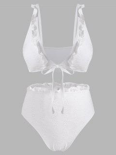 ZAFUL Plus Size Ruffled Broderie Anglaise Low Cut Bikini Swimwear - White Xxl
