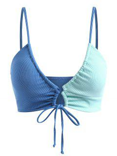 ZAFUL Plus Size Cinched Colorblock Swim Top - Blue Xxxl