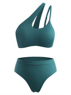 ZAFUL Plus Size Cutout One Shoulder Bikini Swimwear - Deep Green Xxl