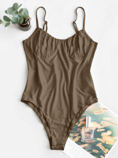 ZAFUL Solid Color High Cut Cami Bodysuit - Coffee S