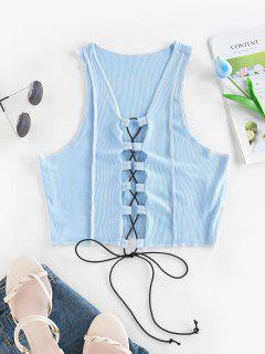 ZAFUL Ribbed Topstitching Lace Up Crop Tank Top - Blue S