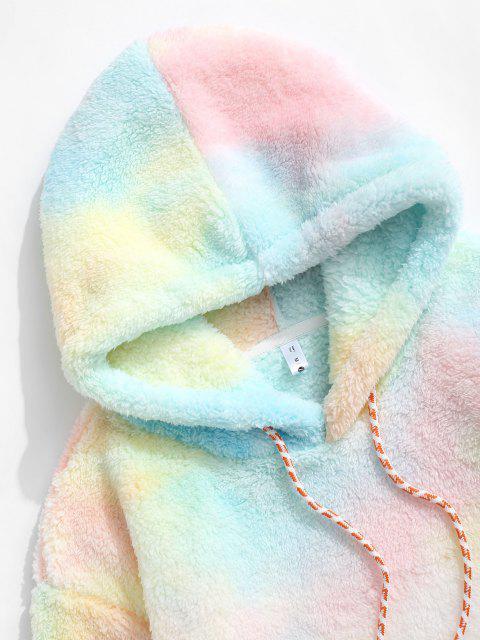 Applique Detail Krawattenfärbender Muster Flauschige Hoodie - Hell-Pink M Mobile