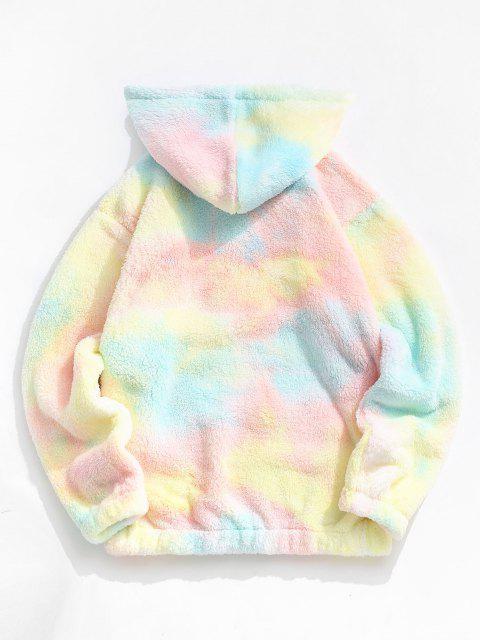 Applique Detail Tie Dye Pattern Fluffy Hoodie - وردي فاتح L Mobile