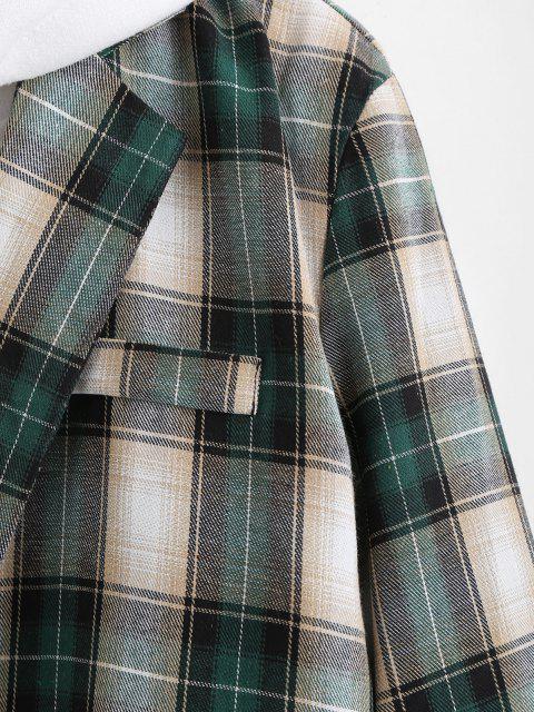 online Plaid Pattern Slit Single Button Blazer - DARK FOREST GREEN M Mobile