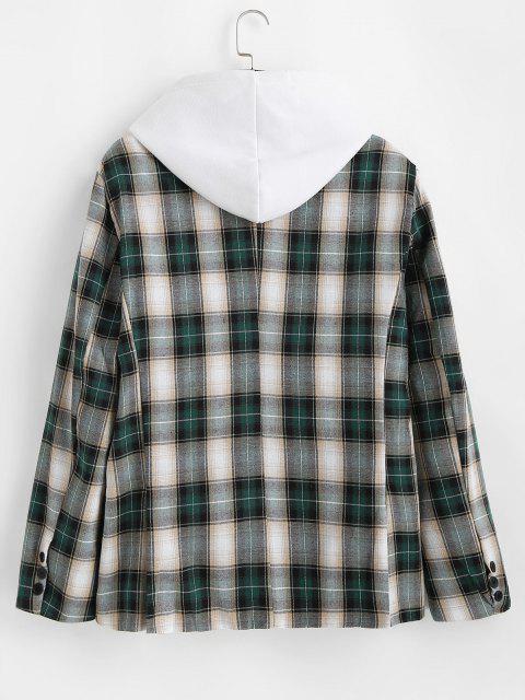 ladies Plaid Pattern Slit Single Button Blazer - DARK FOREST GREEN S Mobile