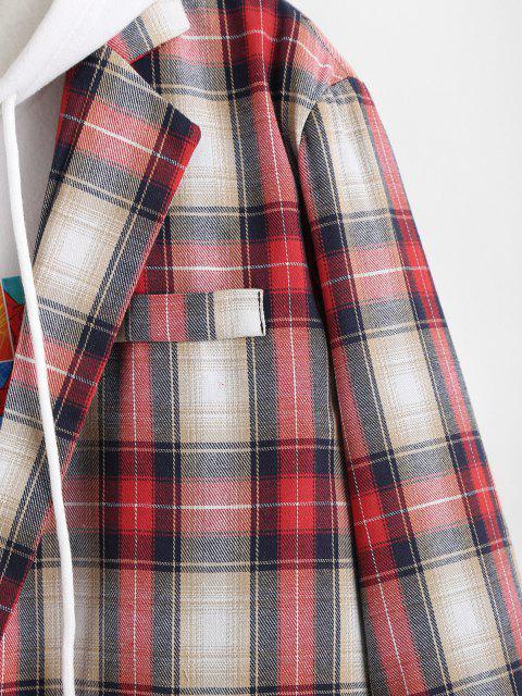 chic Plaid Pattern Slit Single Button Blazer - LAVA RED L Mobile