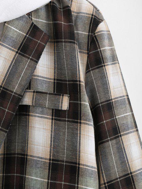 fashion Plaid Pattern Slit Single Button Blazer - DEEP BROWN S Mobile