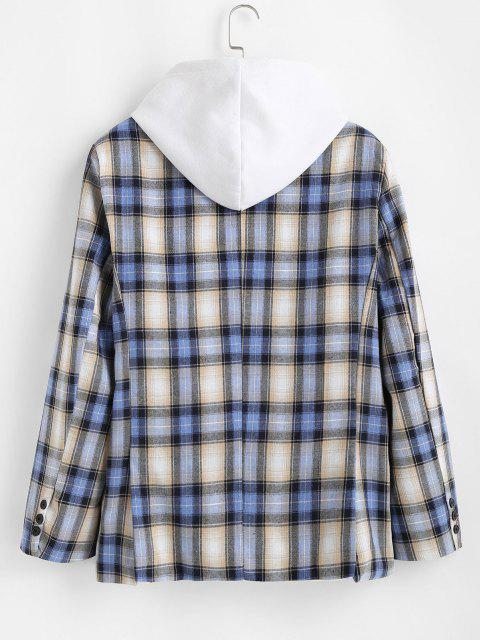 sale Plaid Pattern Slit Single Button Blazer - BLUEBERRY BLUE L Mobile