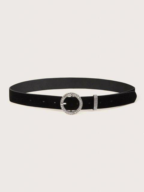 Rhinestone Circle Pin Buckle Belt - أسود  Mobile